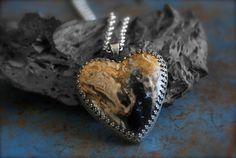 Indonesian Petrified Palm Root Heart Pendant by RoseMetalsJewelry