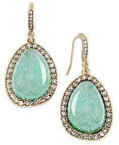 Lauren Ralph Lauren Earrings, Gold-Tone Amazonite Pave Teardrop Earrings - Fashion Earrings - Jewelry & Watches - Macy's