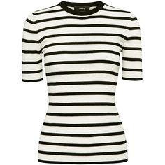 Theory - Leneva Ultra Fine Merino Stripe Tee ($200) ❤ liked on Polyvore featuring tops, t-shirts, ribbed tee, stripe tee, white stripes t shirt, ribbed t shirt and white top
