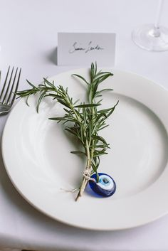 Rosemary & mati (Greek evil eye) wedding favours / Wedding Styling by Rebecca Ellie Studio / Photography by  Acoma
