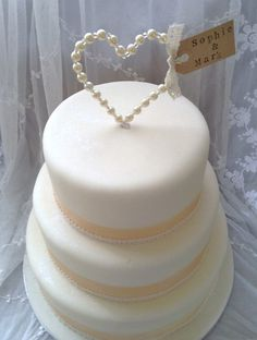 Personalised Pearl Heart Wedding Cake Topper by TheLittleTiaraRoom, £8.50