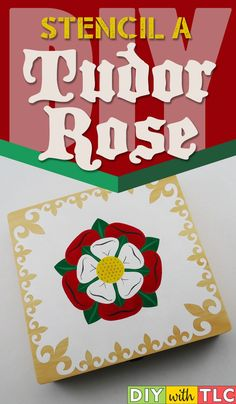 Make this Stenciled Tudor Rose on a wooden cigar box for yourself or as a gift Rose Stencil, Stencil Fabric, Stencil Wood, Stenciling, Diy Craft Projects, Craft Tutorials, Craft Ideas, Craft Gifts, Diy Gifts