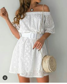 Off Shoulder Hollow Out Trim Casual Dress - Cute Dresses, Casual Dresses, Casual Outfits, Short Sleeve Dresses, Summer Dresses, Summer Outfits, Mode Outfits, Dress Outfits, Fashion Dresses