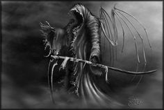 Angel of death...the grim reaper...evil and reaper of lost souls...right arm tat