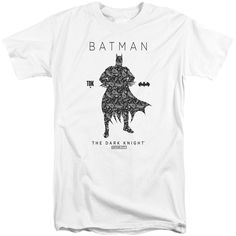 BATMAN/PAISLETY SILHOUETTE-S/S ADULT TALL-WHITE