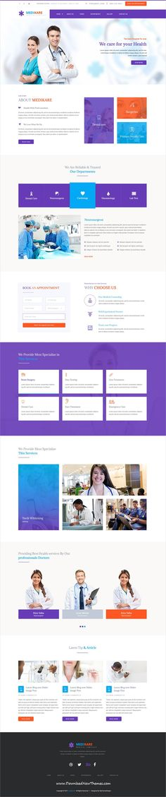 Medikare is clean and modern design #PSDtemplate for onepage #healthcare and #medical centers website to live preview & download click on image or Visit