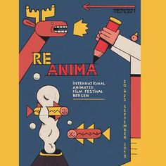 Superhappy 🎉 that I got the chance to design ✏️ the 2018 edition of the ReAnima Festival in Bergen, Norway 🦌.💚 #reanimafestival