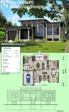 Architectural Designs Modern House Plan has a window-filled facade and a covered porch in back. 3 beds and over square feet of heated living space. Where do YOU want to build? The Plan, How To Plan, One Floor House Plans, Small House Plans, Modern Floor Plans, Architecture Design, Facade Design, Drawing Architecture, Architecture Portfolio