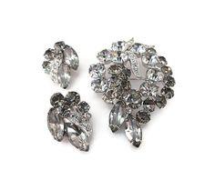 Eisenberg Ice Brooch Earrings, Smoke Gray, Eisenberg Rhinestone, Silver Rhodium, Vintage Brooch, Vintage Earrings, Vintage Jewelry by zephyrvintage on Etsy