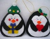 Penguin,  Felt Christmas Ornament - Set of 2