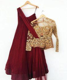 Light Lehengas - Ridhi Mehra Marsala Lehenga with Gold Sheer Peplum Blouse, Marsala Dupatta   WedMeGood #wedmegood #indianbride #lehenga #peplum #gold #sheer #bridal