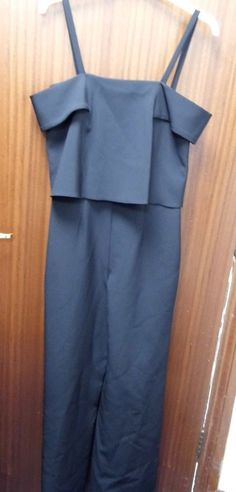 9f14a68fd43 TOPSHOP Bardot Wide Leg Jumpsuit Size 8 Black (New Without Tag)  fashion
