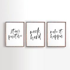 Jobs From Home Discover Stay Positive Work Hard Make it Happen Printable Art Motivational Printable Inspirational Printable Office Decor office art Set of 3 Office Wall Decor, Office Walls, Office Artwork, Work Cubicle Decor, Office Signs, Office Prints, Therapy Office Decor, Modern Office Decor, Office Memes