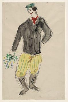 Marc Chagall. A Peasant, costume design for Aleko (Scene III). (1942)