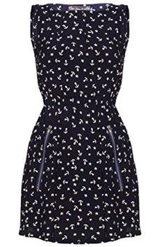 d5fe418bf8 Mela Loves London Navy Blue Anchor Zip Pocket Dress Size UK 12 JJ 25 for  sale online