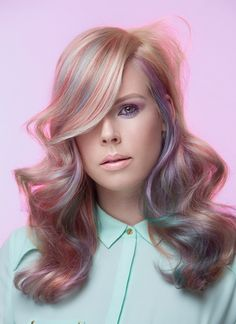 Pretty pastel hair color and blonde! Waves, pink, green, blue, purple highlights in platinum blonde hair | Team Twins Hair & beauty.