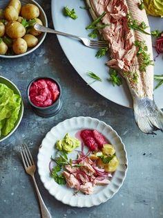 Salmon with rhubarb sauce & tarragon mayo | Jamie Oliver