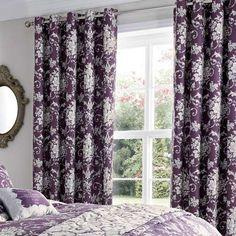 Plum Adriana Sateen Thermal Eyelet Curtains