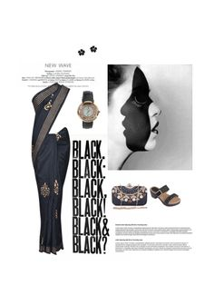 'Black' by me on Limeroad featuring Black Sarees, Black Clutches with Black Sandals