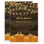 Fall Pumpkins & String Lights Rustic Bridal Shower Card