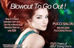 Pucci Salon Blowout promotion created graphic for multiple social media, e-blast, and print uses Salon Business Plan, Business Ideas, Beauty Shop Decor, Salon Promotions, Facial Room, Promotion Ideas, Advertising Ideas, Viva Glam, Spa Offers