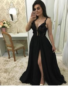 Plunging Neck Black Prom Dress with Split, Sexy Black Evening Party Dress - Prom Dresses Design Black Prom Dresses, A Line Prom Dresses, Grad Dresses, Bridesmaid Dresses, Formal Dresses, Formal Prom, Party Dresses, Dress Prom, Dress Black