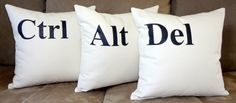 Control Alt Delete Pillows Ctrl Alt Del Throw Pillow by HomeLiving