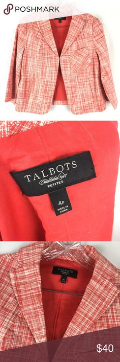 Talbots 4P Red White Print Jacket Gently used in great condition Talbots Petite 3/4 sleeves red and white print jacket. Had a clasp closure. Talbots Jackets & Coats Blazers