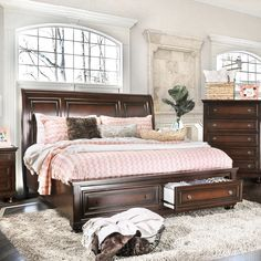 Furniture of America Barelle Cherry Platform Bed with Footboard Drawers (California King), Brown Platform Bed With Drawers, Solid Wood Platform Bed, Red Platform, Used Bedroom Furniture, Bedroom Decor, Modern Bedroom, Bedroom Colors, Bedroom Ideas, Cherry Wood Bedroom