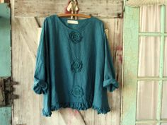linen top blouse Romance flare design in teal turquoise blue with roses ready to ship