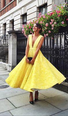 2018 yellow prom dresses, elegant ankle length prom dresses, yellow evening dresses graduation dresses