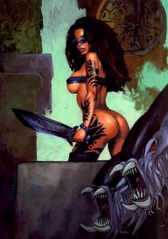 Black Amazon Female Warriors   Savage warrior women, in ADAM GEYER's Painted Characters Comic Art ...