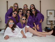 Bride and Bridesmaid Gift - Waffle Weave Spa Robes Set of 9 Choice of Colors and Personalization