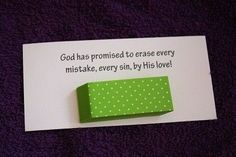 eraser: God has promised to erase every mistake, every sin, by His love! Bible School Crafts, Sunday School Crafts, Bible Crafts, Object Lessons, Bible Lessons, Sunday School Lessons, Lessons For Kids, College Girls, Bible Activities