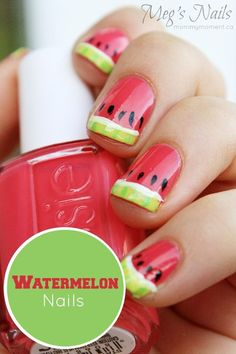 Watermelon Nail Art. These are so cute!!