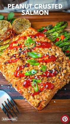 This Sriracha Lime Peanut Crusted Salmon is one of the most flavorful salmon recipes you will ever make on your pellet grill. Best Seafood Recipes, Entree Recipes, Salmon Recipes, Healthy Dinner Recipes, Shellfish Recipes, Top Recipes, Meat Recipes, Summer Recipes, Delicious Recipes
