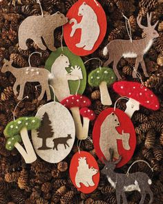 Forest animals, mushrooms, and bristle ornaments mix the natural and the fantastical — and bring texture to your tree.