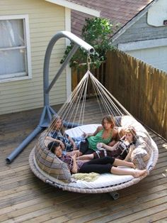 Outdoor Hammock Bed-- my hubby will be all over this haha