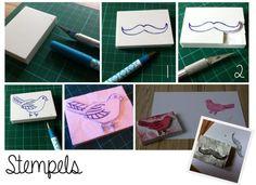 DIY: Stamps, Mustache and Bird