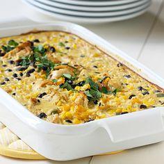 Fiesta Chicken, Rice & Bean Casserole (Easy; 6 servings) #chicken #rice #casserole