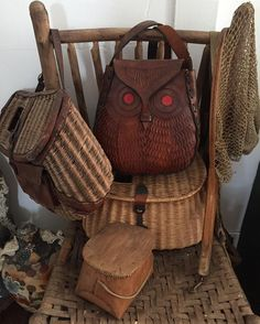 A few of my favorite things--an owl pocketbook surrounded by fishing creels! #neverstoptothinkdoihaveaplaceforthis #moreisbetter #carterjunk #owls #gofish