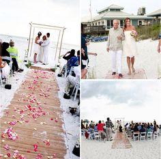beach boardwalk wedding aisle - photo by Avante-Garde Images