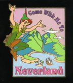 Walt Disney's Peter Pan - LE Auction P.I.N.S. Pin/Pins  Disney Auctions (P.I.N.S.) - Peter Pan Never Land. Peter Pan beckons you to join him in Never Land on this travel poster-inspired gold-finished character pin, a Disney Auctions exclusive in a limited edition of 1,000. Pin reads 'Come with me to Never Land'. In the background are mountains, clouds and a ship. This picture of the pin is courtesy of Pinpics.  SIZE: approx. 1.75 inches x 2 inches  Materials: hard enamel
