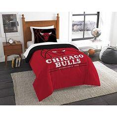 NBA Bulls Comforter Twin Set Basketball Themed Bedding Sports Patterned Team Logo Fan Merchandise Athletic Team Spirit Fan Red Black White Polyester