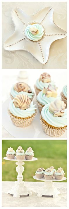 Chocolate Seashells on Cupcakes recipe   #beach wedding ... Wedding ideas for brides, grooms, parents & planners ... https://itunes.apple.com/us/app/the-gold-wedding-planner/id498112599?ls=1=8 … plus how to organise an entire wedding ♥ The Gold Wedding Planner iPhone App ♥