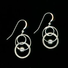 Circle Wire Earrings Sterling Dangle Beaded Silver Earrings Wire Jewelry Chain Earrings Jewelry Gift