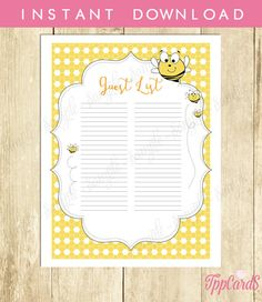 Instant Download Bee Guest List Printable Bumble Bee Baby Shower Guest Sign In Sheet Gender Neutral Black Yellow Bee SignIn Sheet by TppCardS #tppcards