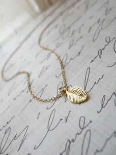 Tiny gold leaf necklace - small leaf necklace - tiny simple jewelry