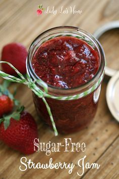 Strawberry Jam This sugar-free strawberry jam was very easy to make. Around 35 minutes from beginning to end. No pectin, no sugar, and I added some chia seeds for added nutrition.This sugar-free strawberry jam was very easy to make. Around 35 minutes from Jelly Recipes, Jam Recipes, Canning Recipes, Splenda Recipes, Sugar Free Desserts, Sugar Free Recipes, Diabetic Recipes, Low Carb Recipes, Vegan Recipes