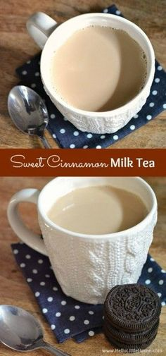 Substitute the milk with almond or cashew milk. Or maybe even oat milk! : Relax with a cup of Sweet Cinnamon Milk Tea! This easy milk tea recipe made with black tea flavored with honey, milk, cinnamon, and vanilla will soothe you after a busy day. Yummy Drinks, Healthy Drinks, Yummy Food, Healthy Eats, Nutrition Drinks, Healthy Recipes, Fast Recipes, Flaming Cocktails, Champurrado